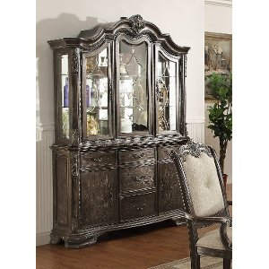 washed gray old world china hutch kiera collection - China Hutch