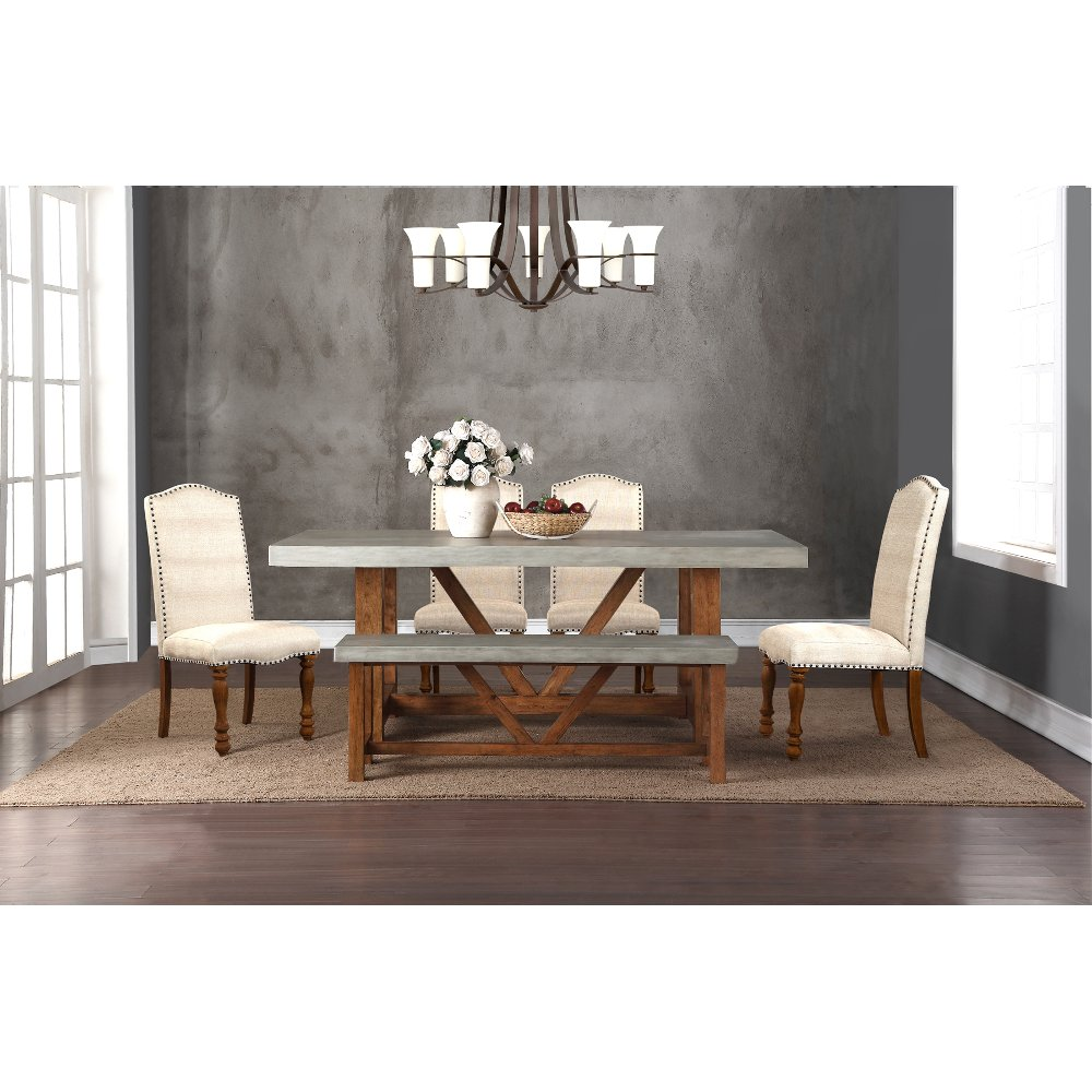 Faux cement and natural 5 piece dining set dining room for 5 piece dining room sets