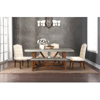 Faux Cement and Natural 5 Piece Dining Set - Bohemian