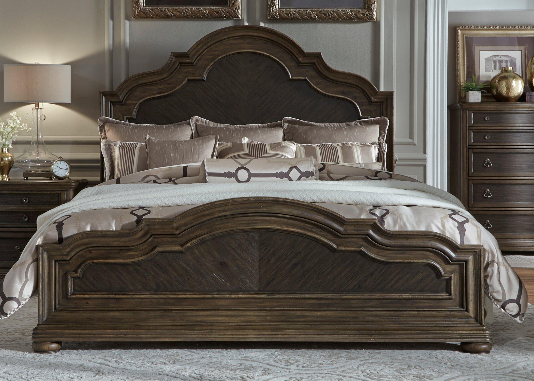 Traditional chestnut brown 6 piece queen bedroom set - Traditional bedroom furniture sets ...