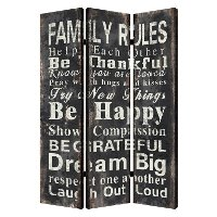 Black and White Reversible 3 Panel Family Rules Screen Room Divider