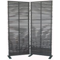Black 2 Panel Wood and Aluminum Screen Room Divider