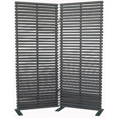 Black 2 Panel Wood and Aluminum Screen Room Divider - Black 2 Panel Wood And Aluminum Screen Room Divider RC Willey