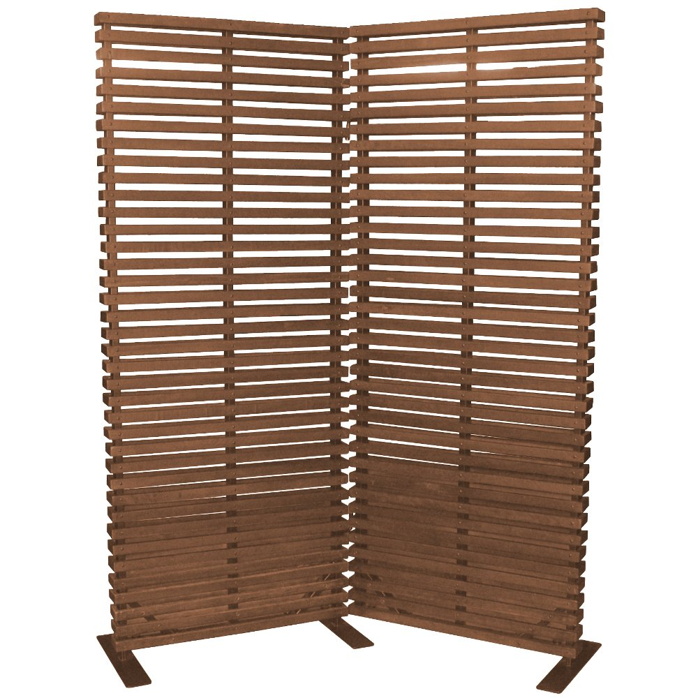 ... Brown Wood And Aluminum 2 Panel Screen Room Divider ...