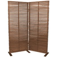 Brown Wood and Aluminum 2 Panel Screen Room Divider