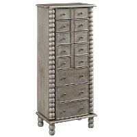 Gray Wash Spindle Jewelry Armoire