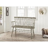 Gray Spindle Back Bench with Armrests