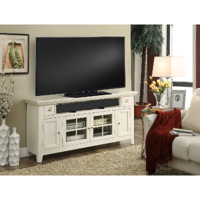 62 Inch Modern Country White TV Stand - Tidewater