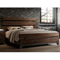 Modern Rustic Brown Queen Size Bed - Forge