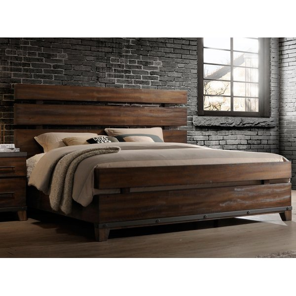 Modern Rustic Brown King Size Bed
