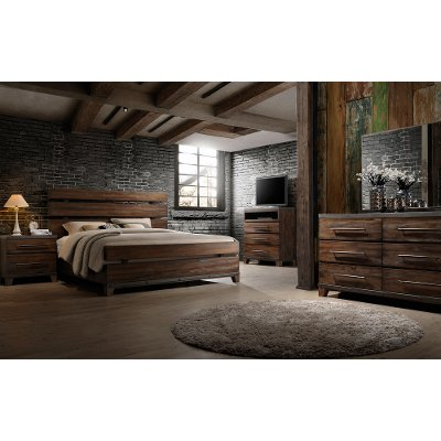 Modern Rustic Brown 6 Piece King Bedroom Set Forge