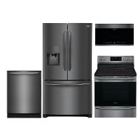 KIT Frigidaire 4 Piece Kitchen Appliance Package with Electric 5.4 cu. ft. Range - Black Stainless Steel