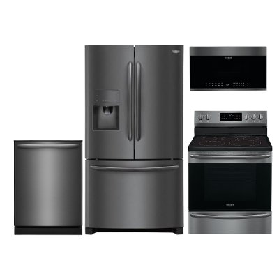 Frigidaire 4 Piece Kitchen Appliance Package with Electric Range ...