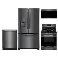 KIT Frigidaire 4 Piece Kitchen Appliance Package with Gas Range and Built-in Dishwasher - Black Stainless Steel