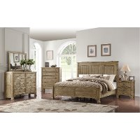 Classic Weathered Pine 4 Piece Queen Bedroom Set - Interlude II