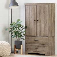 10607 Weathered Oak Two-Door Armoire with Drawers - Versa