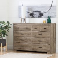 10609 Weathered Oak 8-Drawer Double Dresser - Versa