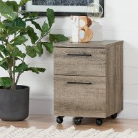 10551 Weathered Oak 2 Drawer Mobile File Cabinet - Munich