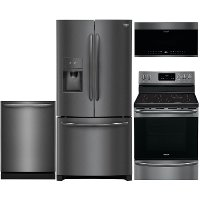 KIT Frigidaire 4 Piece Electric Kitchen Appliance Package with Counter Depth Refrigerator - Black Stainless Steel