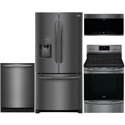 kit frigidaire black stainless steel 4 piece kitchen appliance package with counter depth refrigerator and electric frigidaire black stainless steel 4 piece kitchen appliance package      rh   rcwilley com