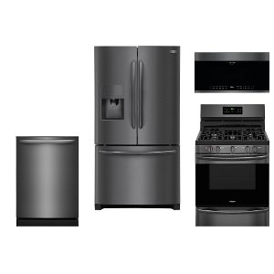 ... KIT Frigidaire 4 Piece Kitchen Appliance Package   Black Stainless  Steel ...