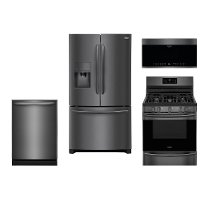 KIT Frigidaire 4 Piece Kitchen Appliance Package with French Door Refrigerator and Gas Range - Black Stainless Steel