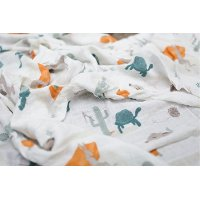 Slow and Steady Bamboo Rayon and Cotton Muslin Swaddle Blanket