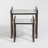 Gun Metal and Marble Nesting Tables - Set of 2