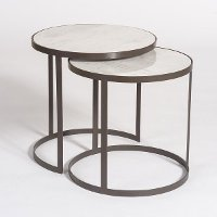 Metal and Marble Round Nesting Tables - Set of 2
