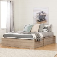 10701 Rustic Oak Queen Storage Platform Bed - Step One