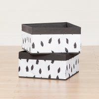 100212 White/Grey Baskets Feathers Print 2-Pack - Storit