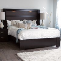 3659A2 Chocolate Platform Bed with Headboard - Gloria