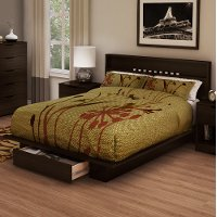 3379A2 Chocolate Full/Queen Platform Bed and Headboard Set - Holland