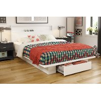 3340A2 White Full/Queen Platform Bed and Headboard Set - Holland
