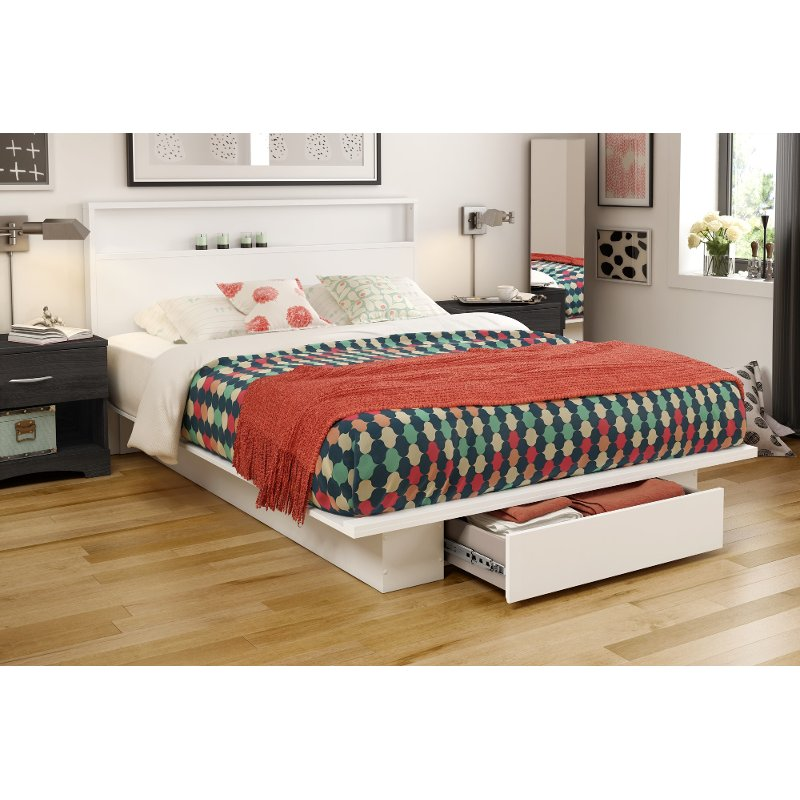 White Full Queen Platform Bed And