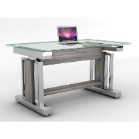 54 Inch Glass and Chrome Sit and Stand Desk - Chrome