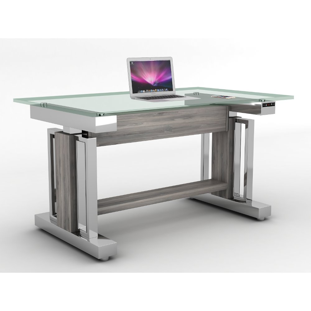 54 Inch Glass and Chrome Sit and Stand Desk | RC Willey Furniture Store