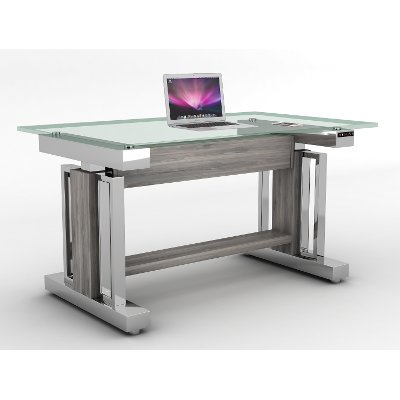 54 inch glass and chrome sit and stand desk - Sit Stand Desk