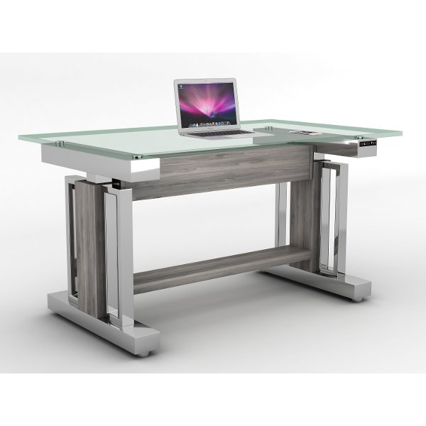 54 Inch Glass And Chrome Sit Stand Desk