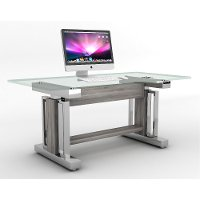 66 Inch Glass and Chrome Sit and Stand Desk