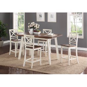 ... Clearance White And Chestnut 5 Piece Counter Height Dining Set   Amelia  Collection