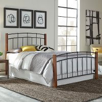 B98A4/METALBED3/3 Maple & Black Casual Contemporary Twin Metal Bed - Benson