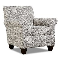 Classic Contemporary Pewter Paisley Accent Chair - Griffin