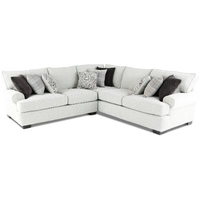 White and Gray 2 Piece Sectional Sofa with LAF Loveseat - Griffin