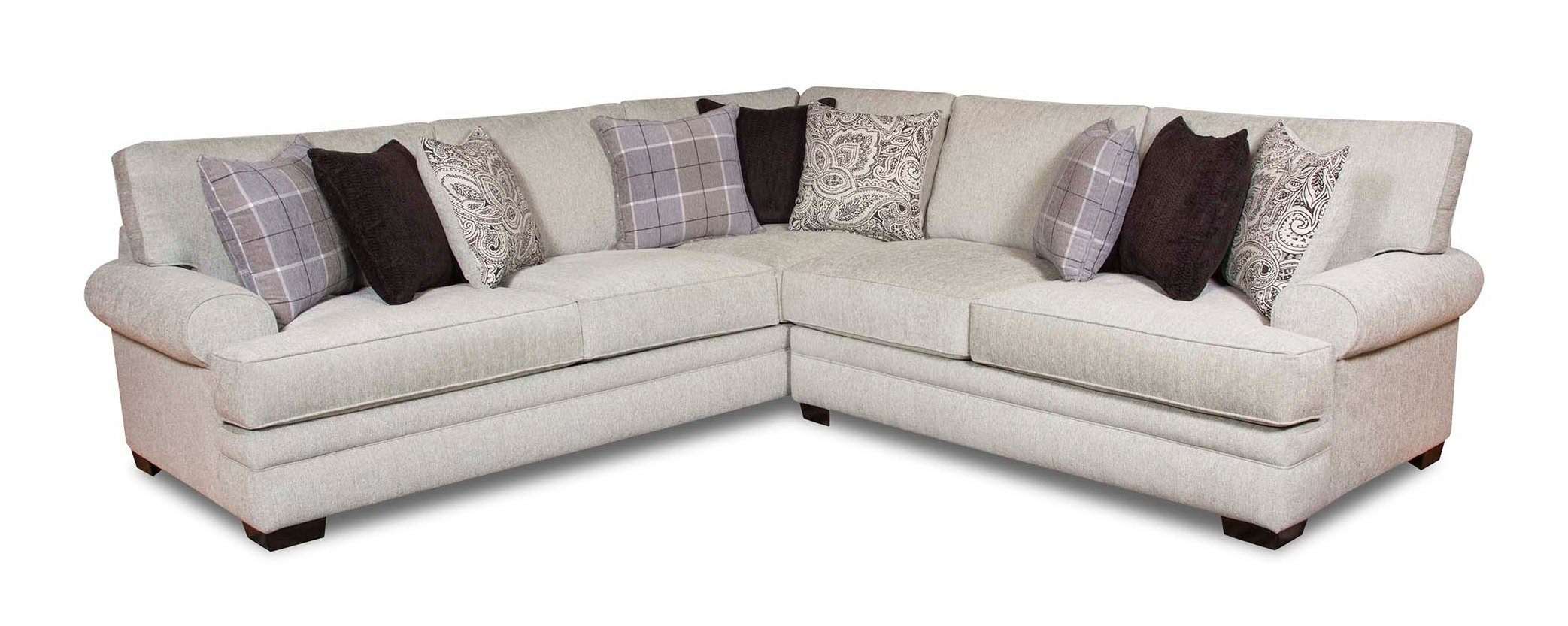 Classic White & Gray 3 Piece Sectional Sofa - Griffin | RC Willey ...