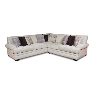 White and Gray 2 Piece Sectional Sofa with RAF Loveseat - Griffin