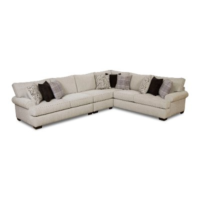 Classic White U0026 Gray Herringbone 3 Piece Sectional   Griffin