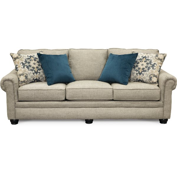 ... Casual Traditional Taupe Sofa   Heather