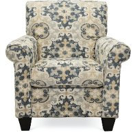 Casual Traditional Taupe & Gray Accent Chair - Heather