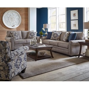 Casual Traditional Taupe Sofa Loveseat Set